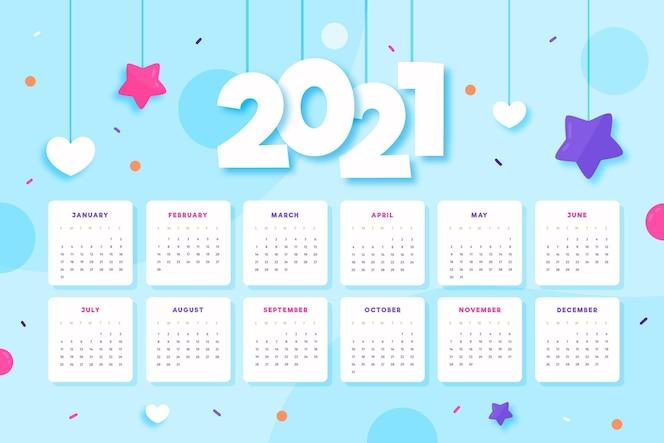 Modèle de calendrier 2021 illustré