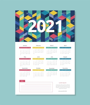 Modèle de calendrier 2021 de style géométrique abstrait