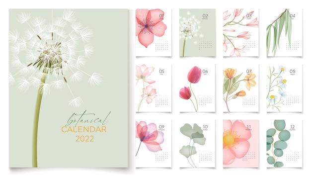 Modèle de calendrier 2022 avec des fleurs abstraites et 12 pages pour chaque mois