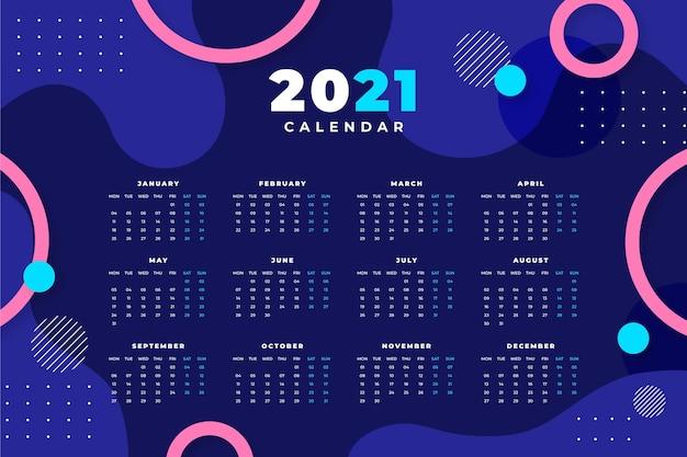 Modèle de calendrier abstrait 2021 avec photo