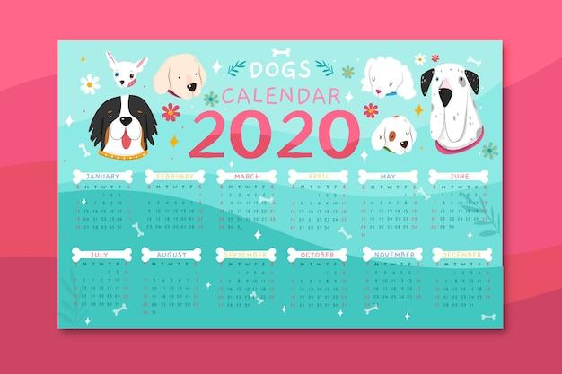 Modèle de calendrier d'animaux mignons