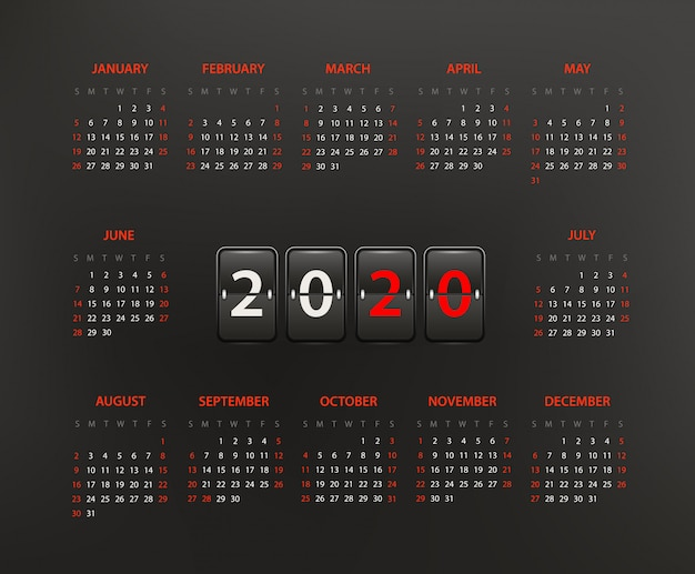 Modèle de calendrier de l'année 2020, mise en page modifiable