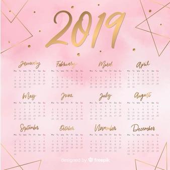 Modèle de calendrier belle aquarelle 2019