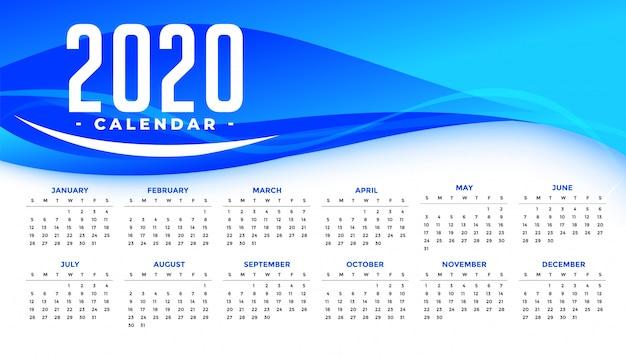 Modèle de calendrier de bonne année 2020 avec vague bleue abstraite