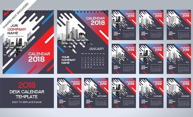 Modèle de calendrier de bureau 2018 - 12 mois inclus - taille a5