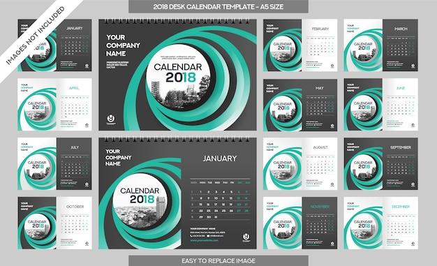 Modèle de calendrier de bureau 2018 - 12 mois inclus