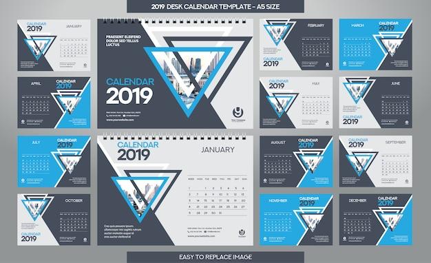 Modèle calendrier de bureau 2019 - 12 mois inclus