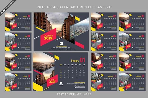 Modèle de calendrier de bureau 2019 a5 taille