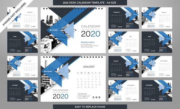 Modèle de calendrier de bureau 2020 - 12 mois inclus