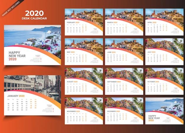 Modèle calendrier de bureau 2020