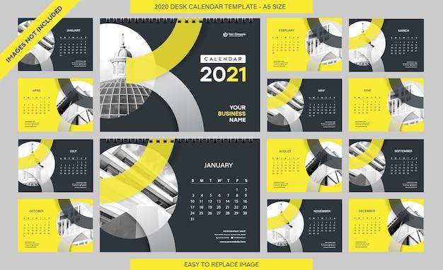 Modèle de calendrier de bureau 2021 - 12 mois inclus - format a5