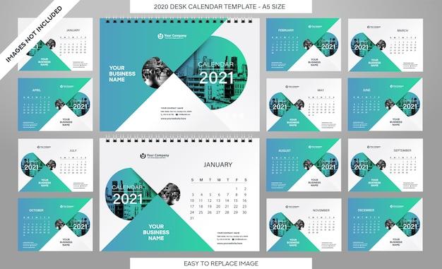 Modèle de calendrier de bureau 2021 - 12 mois inclus