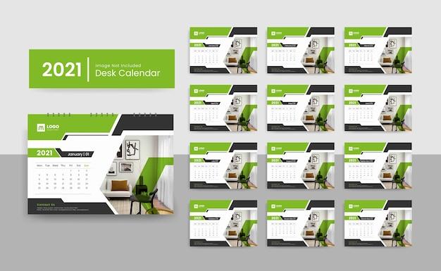 Modèle de calendrier de bureau 2021 pour entreprise avec un design créatif
