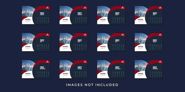 Modèle de calendrier de bureau 2022 avec la couleur rouge