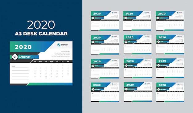 Modèle calendrier de bureau a3 2020
