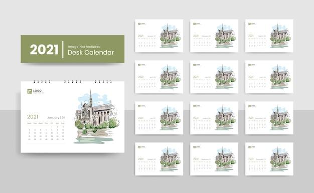 Modèle de calendrier de bureau créatif 2021 pour société immobilière