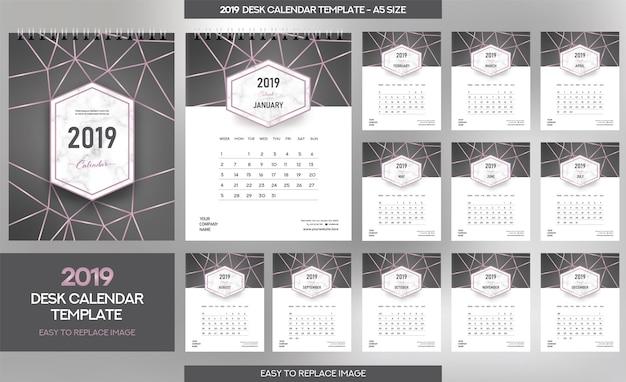 Modèle calendrier de bureau marble 2019