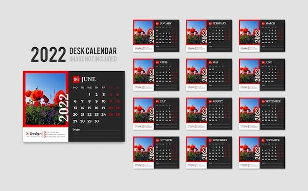 Modèle de calendrier de bureau prêt à imprimer pour l'année 2022 la semaine commence le lundi