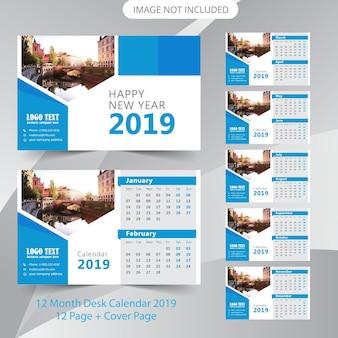 Modèle de calendrier de calendrier de bureau 2019