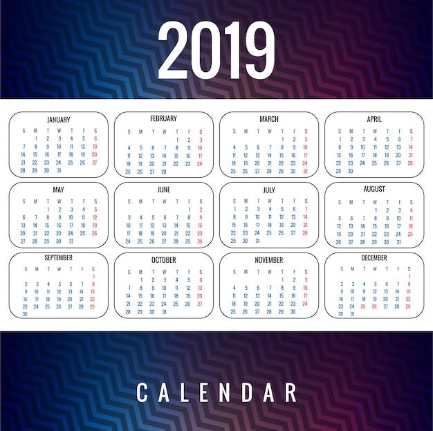 Modèle de calendrier coloré abstrait 2019