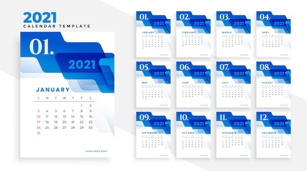 Modèle de calendrier commercial bleu 2021 avec des formes abstraites