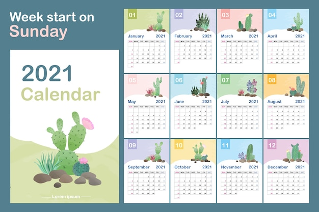 Modèle de calendrier. concept de calendrier avec des motifs naturels de cactus.
