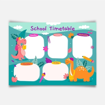 Modèle de calendrier créatif de retour à l'école