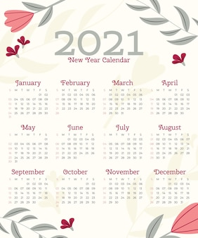 Modèle de calendrier design plat nouvel an 2021