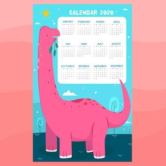 Modèle de calendrier de dinosaure