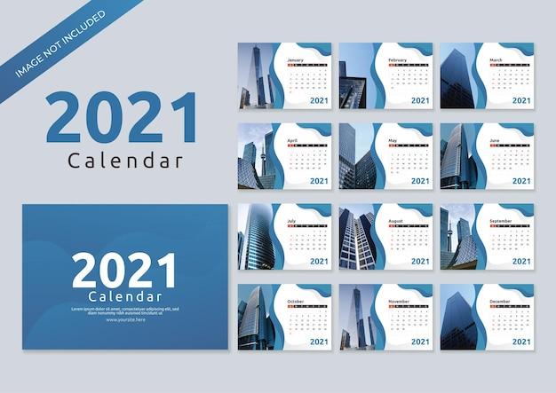 Modèle de calendrier d'entreprise 2021 dans un style ondulé bleu
