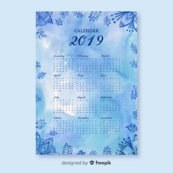 Modèle de calendrier fleurs aquarelle mandala