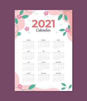 Modèle de calendrier floral 2021