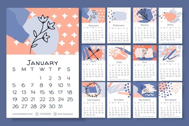 Modèle de calendrier floral dessiné main 2020