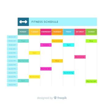 Modèle de calendrier de gym moderne avec un design plat