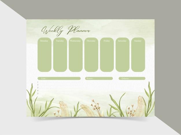 Modèle de calendrier hebdomadaire aquarelle floral verdure