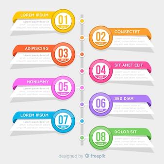 Modèle de calendrier infographie plat coloré