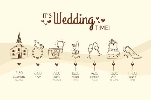 Modèle de calendrier de mariage dessiné à la main