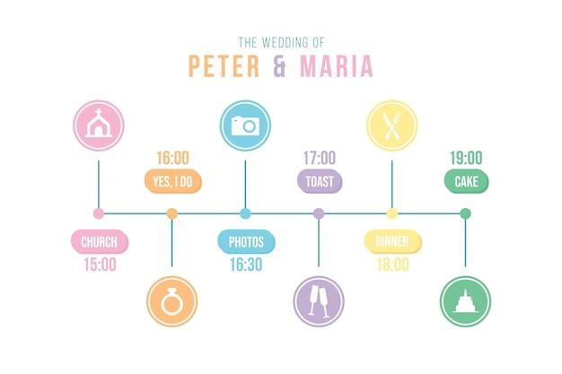 Modèle de calendrier de mariage linéaire