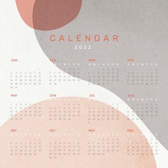 Modèle de calendrier mensuel abstrait 2022, ensemble de vecteurs esthétiques