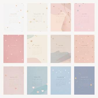 Modèle de calendrier mensuel esthétique 2022, set vector
