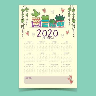 Modèle de calendrier mignon 2020