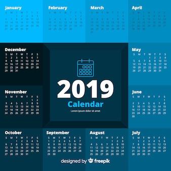 Modèle de calendrier moderne 2019