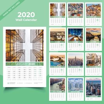 Modèle de calendrier mural 2020