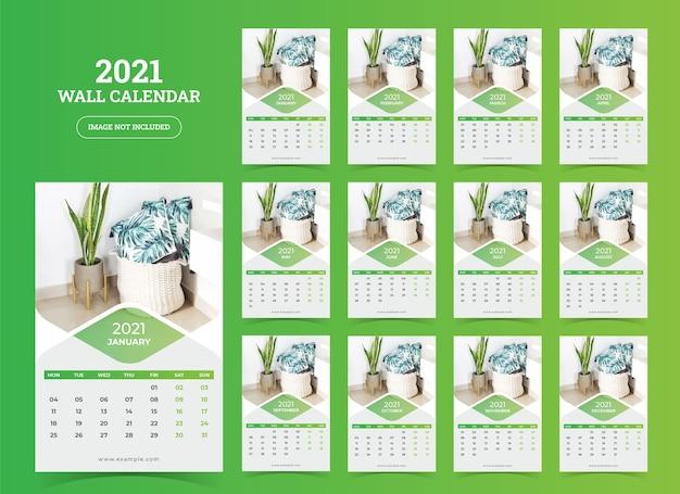 Modèle de calendrier mural 2021