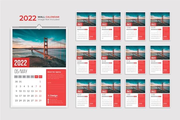 Modèle de calendrier mural 2022 calendrier d'affaires annuel planificateur d'événements calendrier de bureau