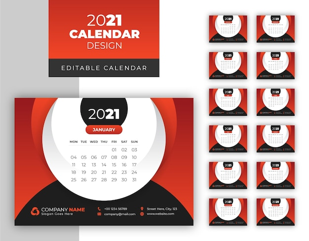 Modèle de calendrier de nouvel an 2021 simple et propre élégant