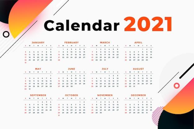 Modèle de calendrier de nouvel an abstrait moderne