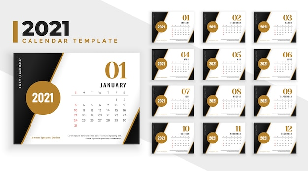 Modèle de calendrier de nouvel an élégant