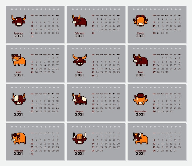 Modèle de calendrier de nouvel an, avec famille de boeuf