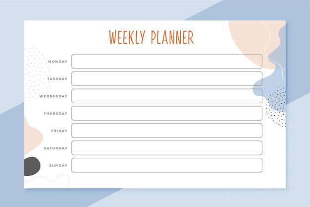 Modèle de calendrier de planificateur hebdomadaire élégant
